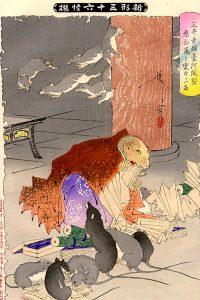 『新形三十六怪撰』三井寺頼豪阿闍利悪念鼠と変ずる図(月岡芳年)